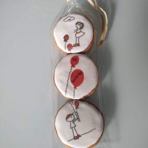 Lote de tres galletas especial San Valentin